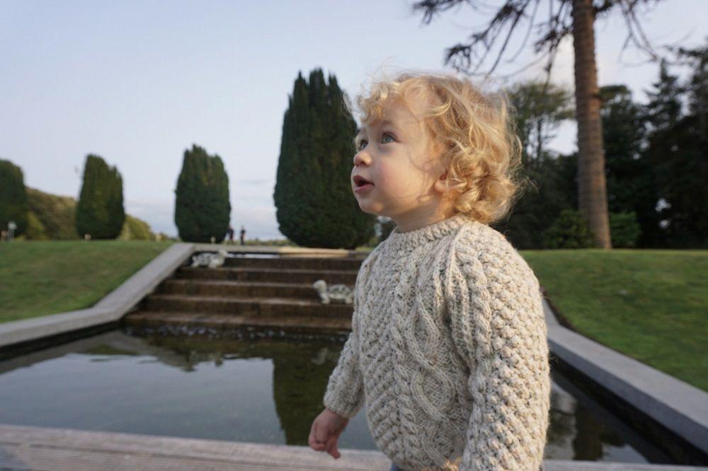 little boy in Aran jumper
