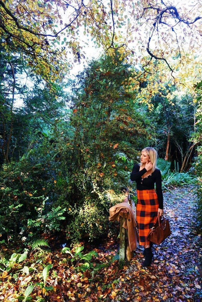 Autumn style orange skirt and black top