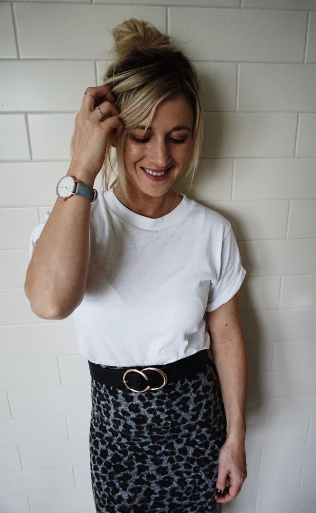white t-shirt and leopard print skirt and belt
