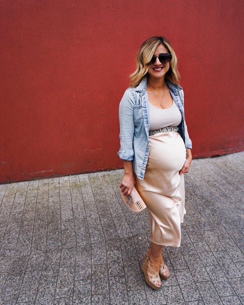 Satin Skirt Maternity and riverisland belt